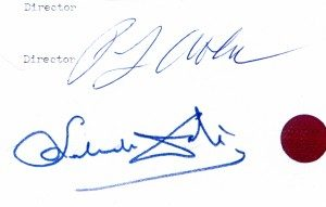Salvador Dalí's signature underneath Peter Owen's on the contract for Hidden Faces © Peter Owen 1973