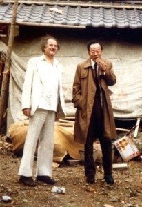 Peter Owen with Shusaku Endo outside the new house Mr Endo was having built In Kyoto – 12th November, 1979. Photo © Peter Owen Publishers