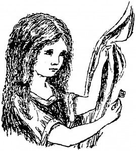 One of Lewis Carroll's own drawings of Alice from the manuscript of Alice's Adventures Under Ground