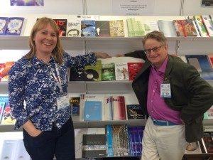 Susan Curtis-Kojakovic and Nick Kent celebrating the merger of the lists at the London Book Fair