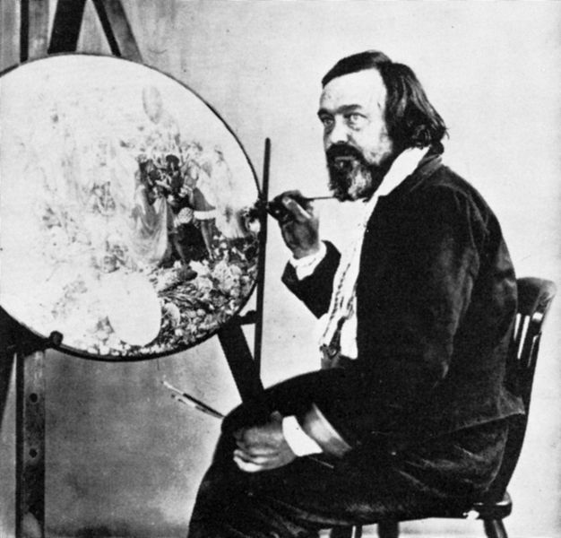 Richard Dadd painting the unfinished oval of Contradiction: Oberon and Titania
