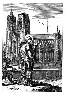 St Gudule. Legend has it that Gudule was a count's daughter who was born in the seventh century in Moorsel, a village in East Flanders. As a young woman she dedicated herself to God, led an austere life of prayer and gave generously to the poor. Before dawn each morning she would go to church from her father's castle at some distance from the village. The devil tried to blow out her lantern, and an angel was sent to light it again. She is usually depicted carrying a lamp.